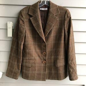 EMPORIO ARMANI Wool Brown Plaid Blazer
